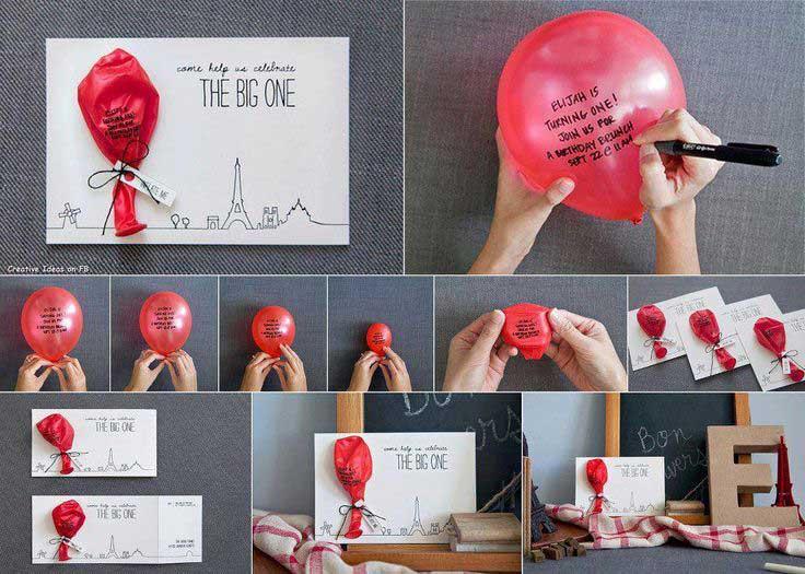 Idee Partecipazioni Matrimonio Fai da te: il palloncino scritto a mano