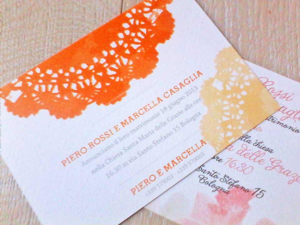 Esempio Partecipazioni Matrimonio a foglio singolo