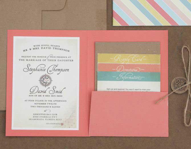 Esempio Partecipazioni Matrimonio: il formato quadrato pieghevole con tasca