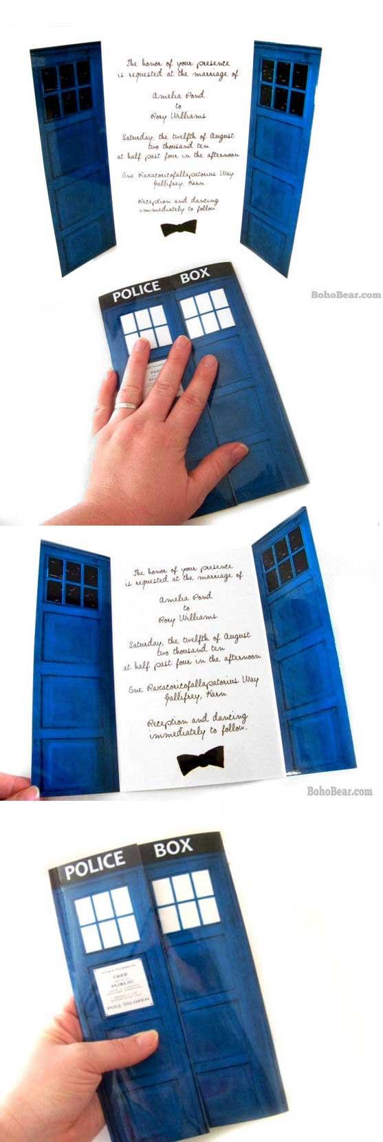 Partecipazioni Matrimonio Fai da te: police box