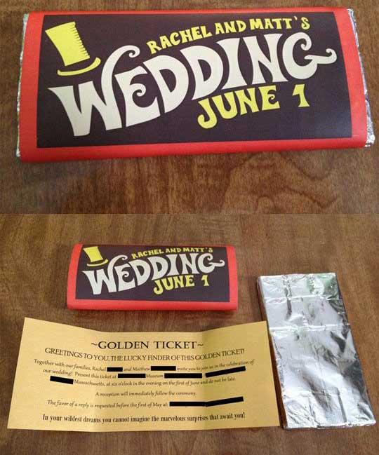 Idee Partecipazioni Matrimonio Fai da te: Tavoletta Cioccolato Willy Wonka