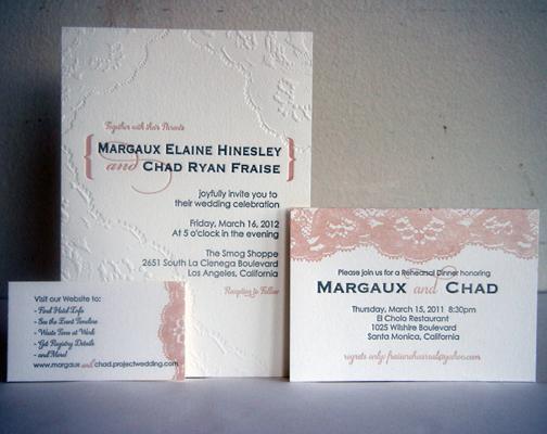 Esempio Partecipazioni Matrimonio in pizzo letterpress