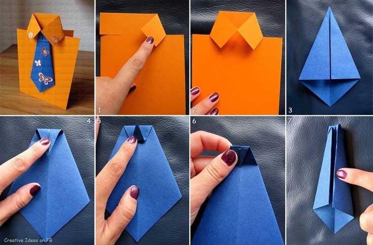 biglietto origami fai da te auguri festa del papà