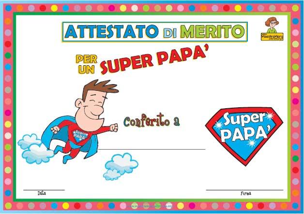 idee regalo Festa del papà: biglietto attestato super papà