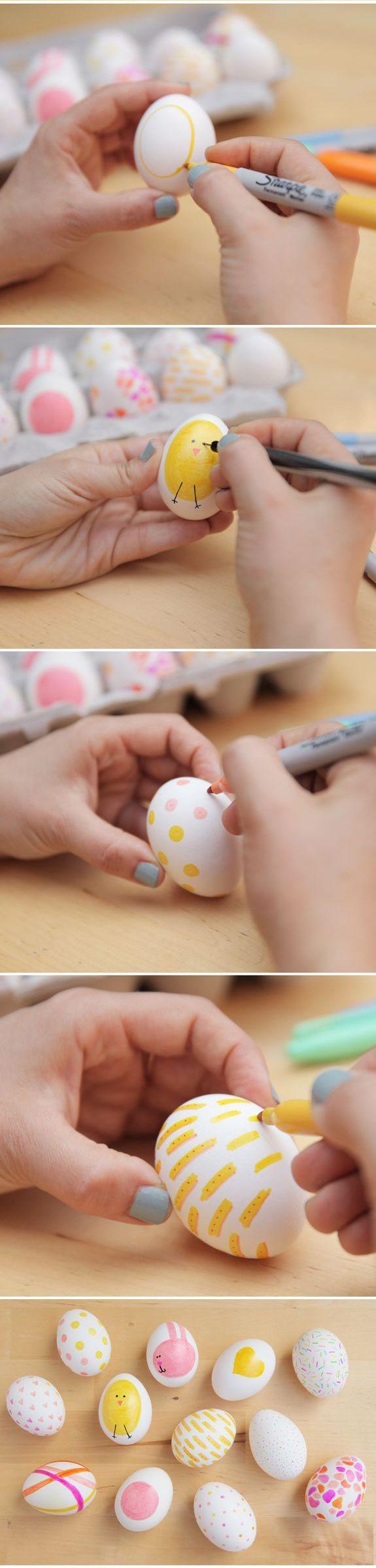 Lavoretti di Pasqua per Bambini: composizione di uova di pasqua decorate