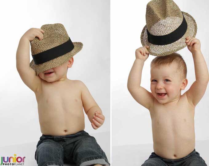 Servizio Fotografico Battesimo: Bambino in posa con cappello