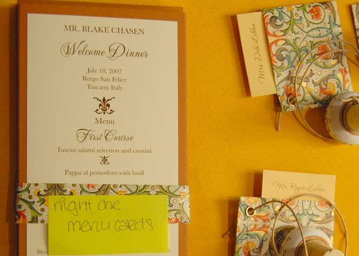 menu e segnaposto fai da te per Festa Compleanno 50 Anni