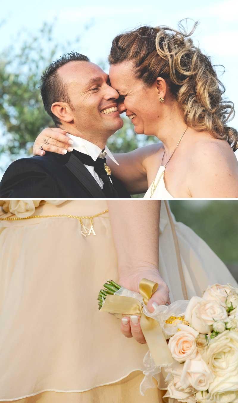 primo piano degli sposi con abiti country chic