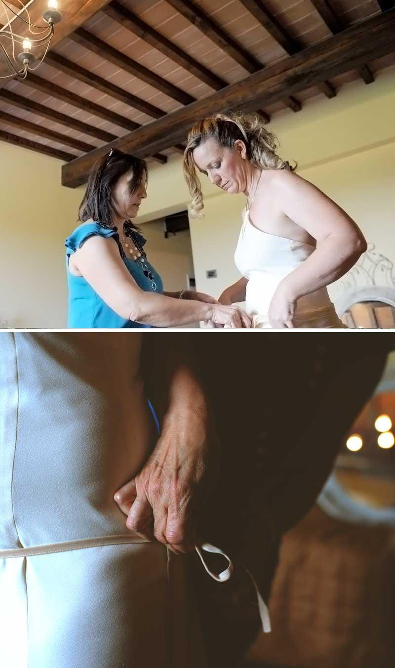 la sposa e la stilista per gli ultimi ritocchi chic