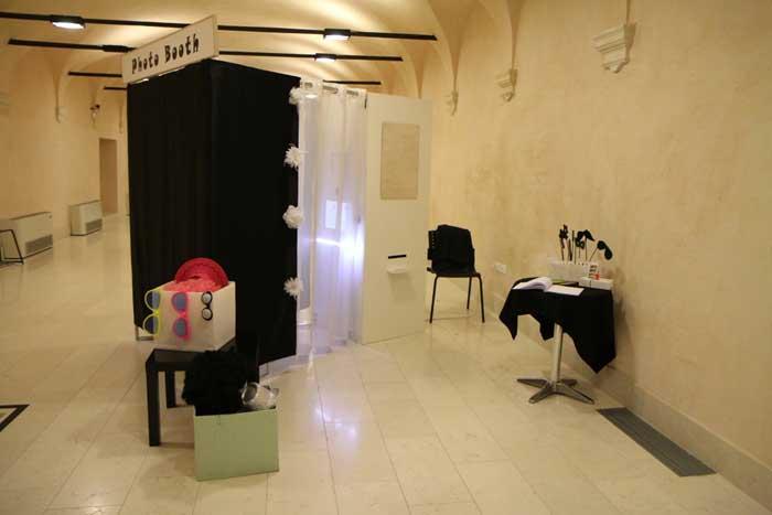 La zona della festa di matrimonio dedicata al Photo Booth