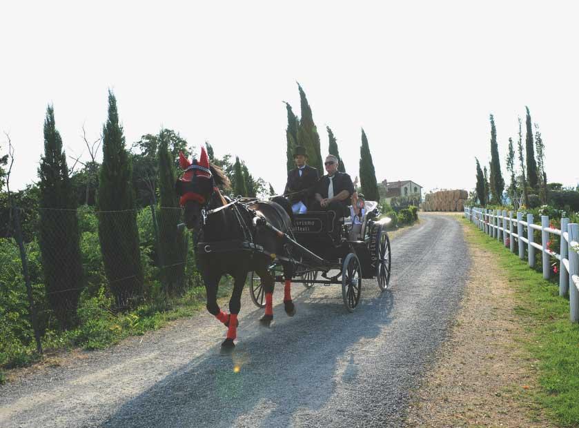 sulla carrozza con l'abito pignatelli per un Matrimonio country chic
