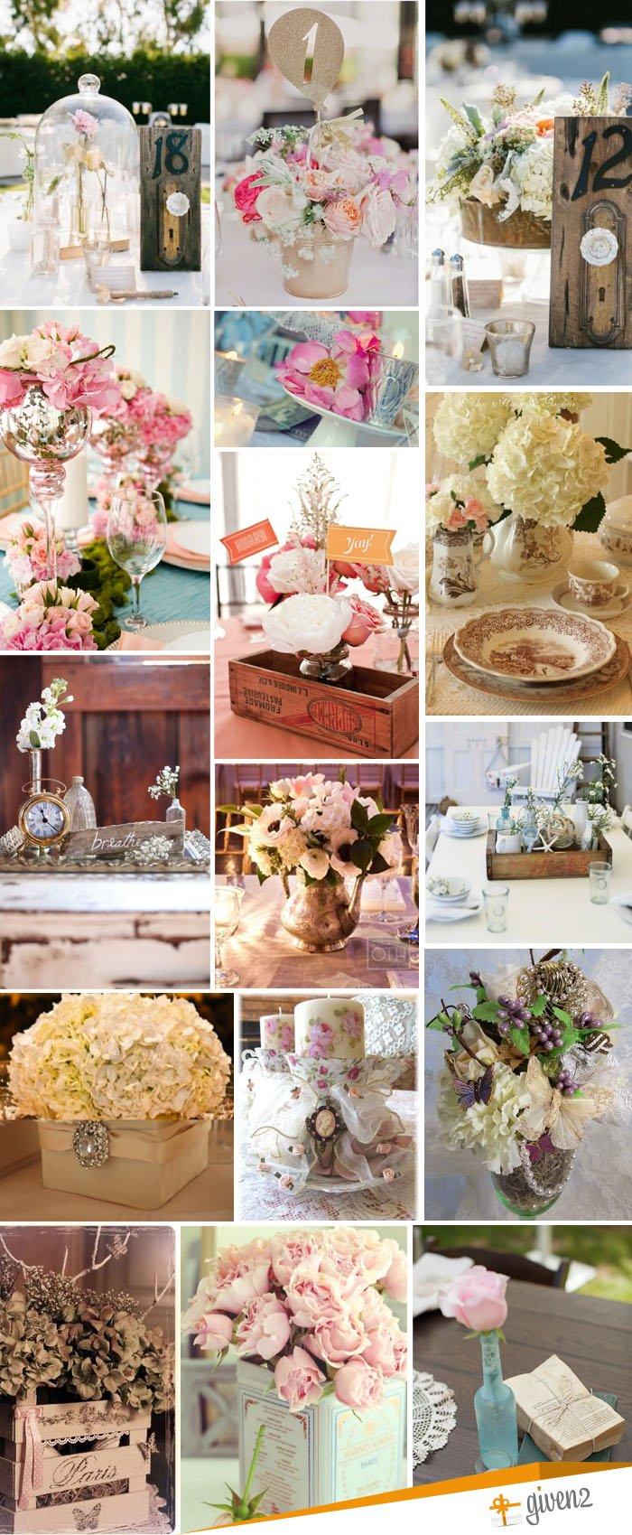 centros de mesa para bodas vintage
