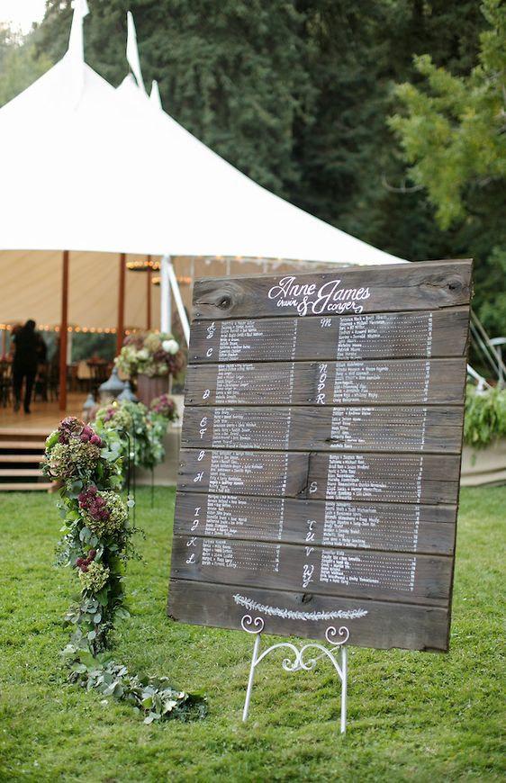 wedding reception seating chart: vintage