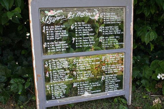 wedding reception seating chart vintage