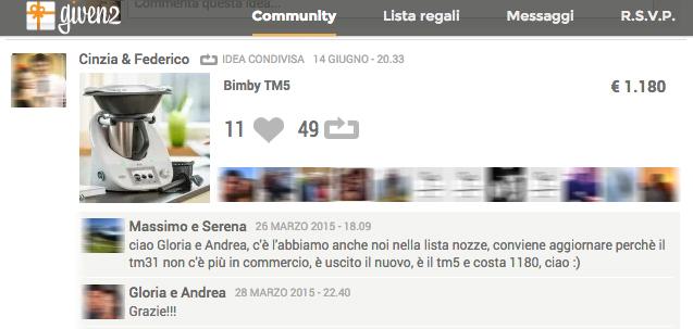 Community Given2: il Bimby TM è uno dei prodotti più condivisi