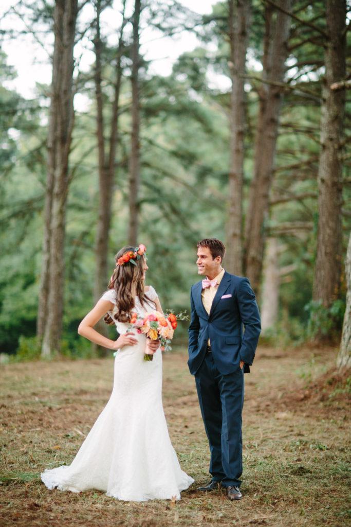 peach wedding dresses for groom and bride
