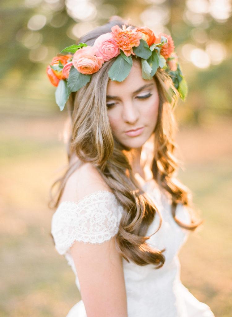 Peach Wedding dress flowers