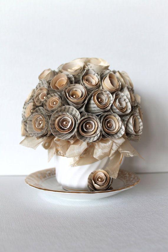 bouquet sposa particolari low cost con fiori di carta