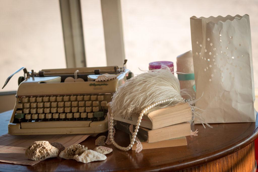 Vintage wedding decoration typewriter