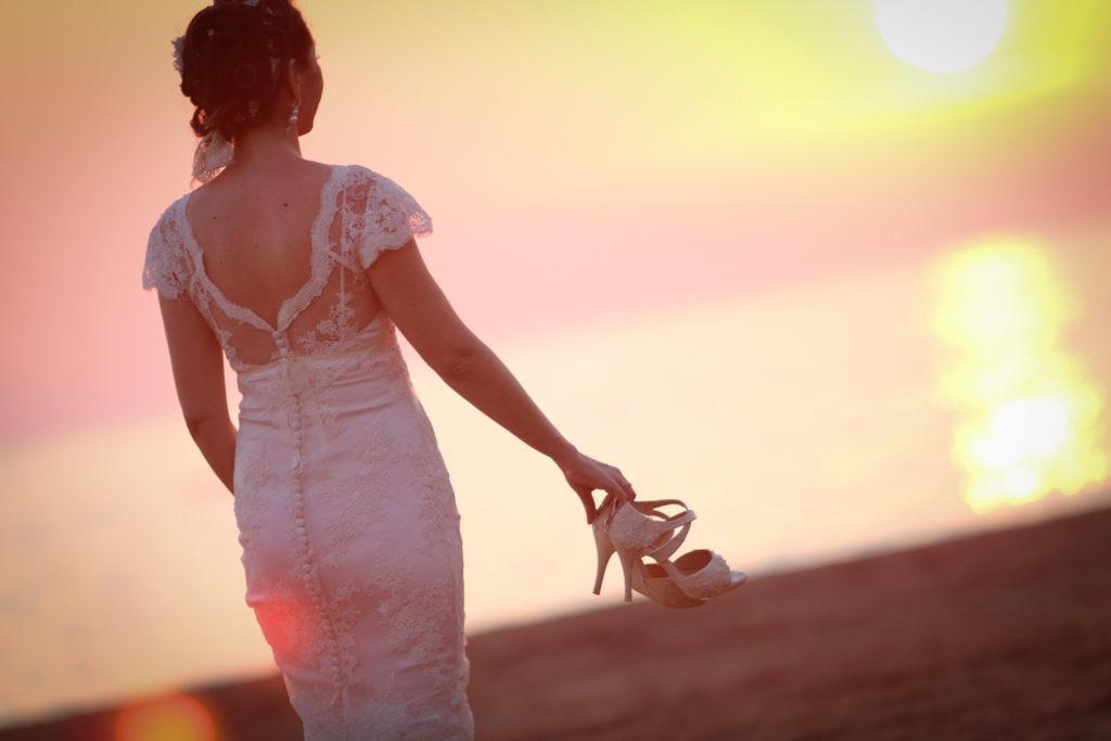 beach wedding bride sunset