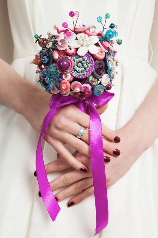Künstlich Brautstrauß | Brautstrauß mit Knöpfe