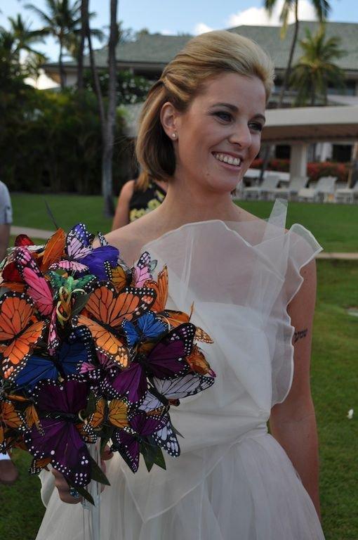bouquet sposa senza fiori con farfalle