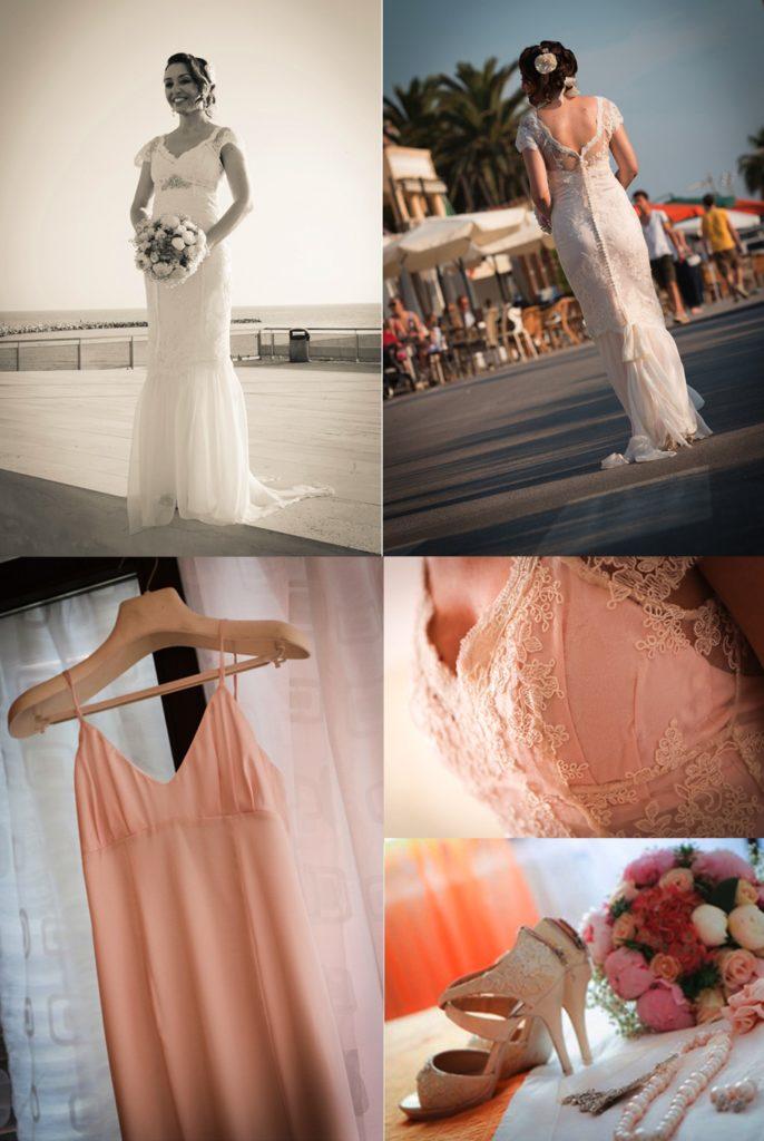 Vintage wedding dress shoes and bouquet