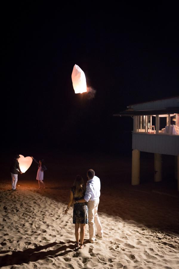 beach wedding sky lanterns