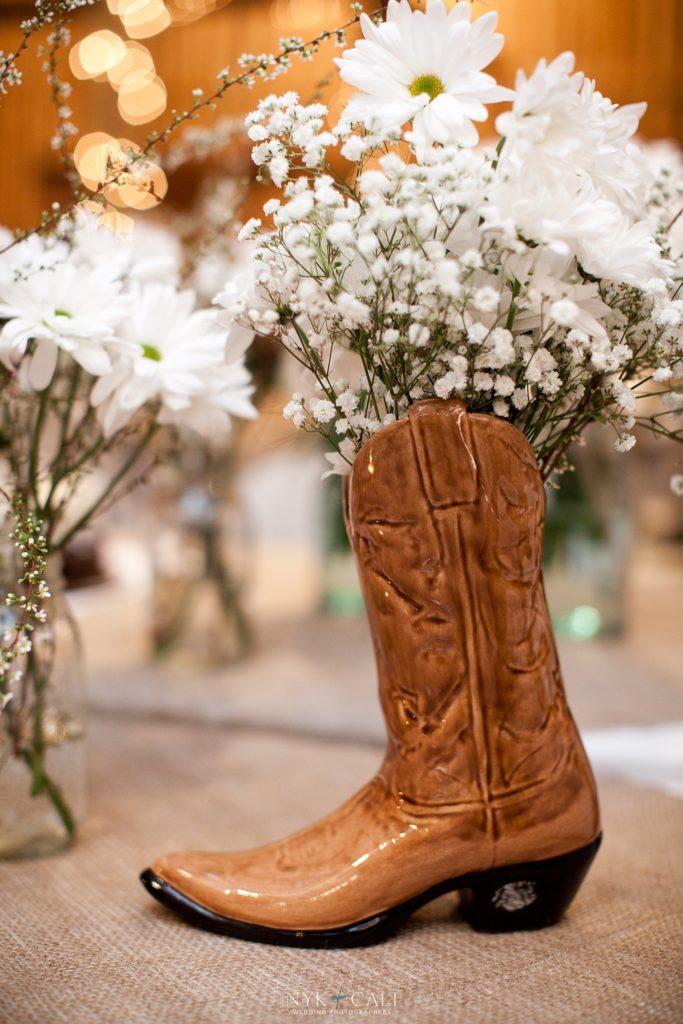 wedding centerpieces cowboy boot vase