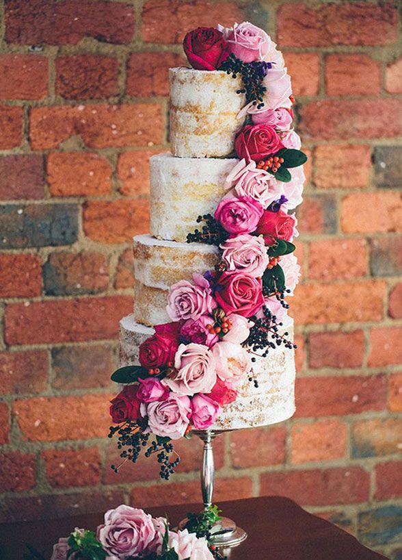 shabby chic naked wedding cake