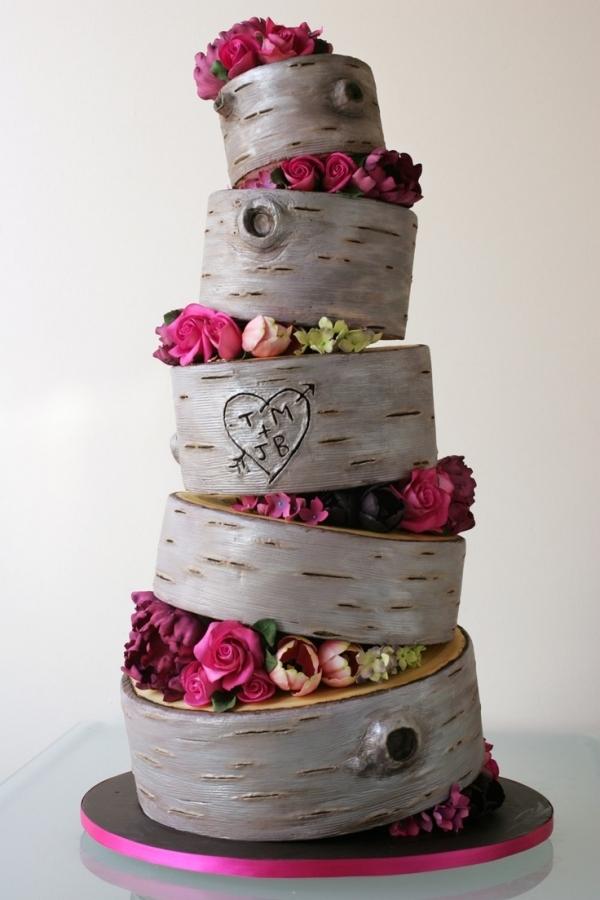 country chic birch wood weddingcake