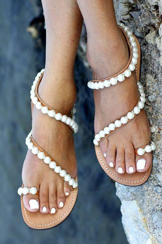 scarpe sposa sandali perle
