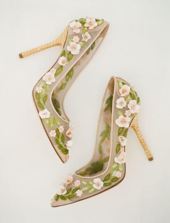 scarpe sposa fiori