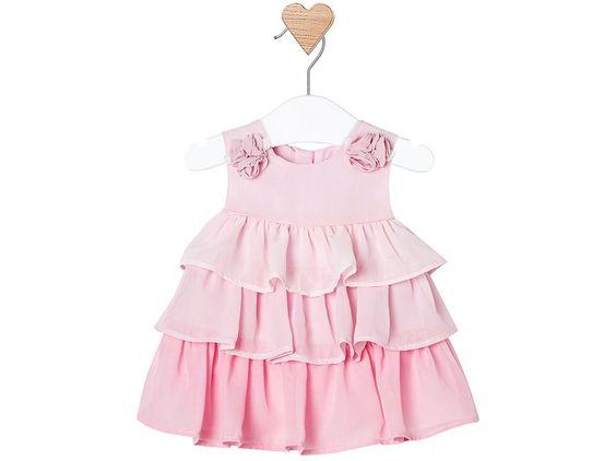 vestito per battesimo a balze rosa