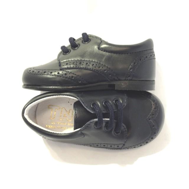 scarpe vestito bimbo eleganti francesine stringate pelle blu