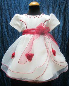 vestito battesimo per bimba bianco e rosso