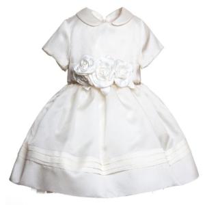 abito bianco con fiori in vita per battesimo bimba