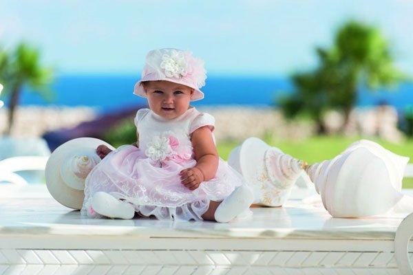vestito rosa battesimo bimba con cappello