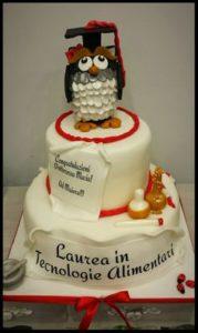 torta di laurea con gufo