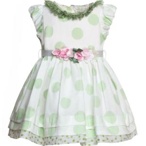 vestito pois verdi per battesimo bimba
