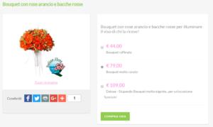 bouquet da sposa prezzi: rose arancio e bacche rosse