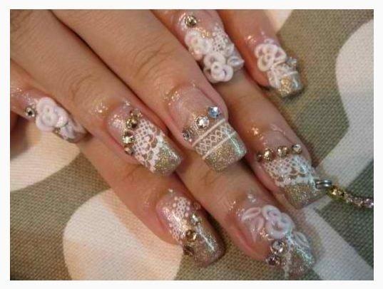 unghie sposa glitter oro